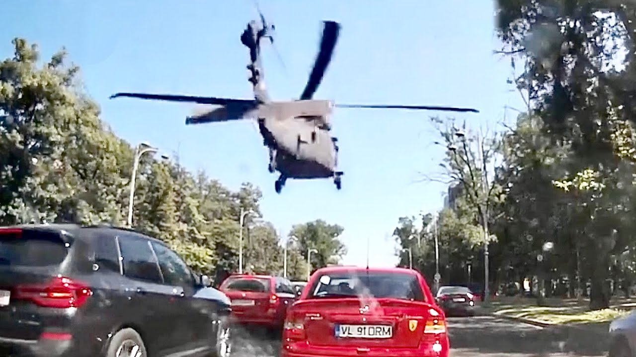 Helicopter Makes Emergency Landing In Heavy Traffic