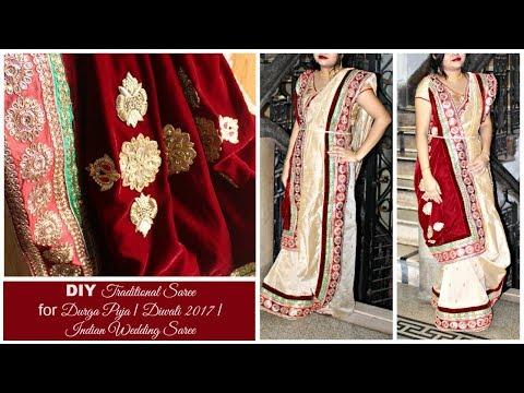 How to make your own Designer Saree at Home | DIY Saree with Designer Velvet Pallu