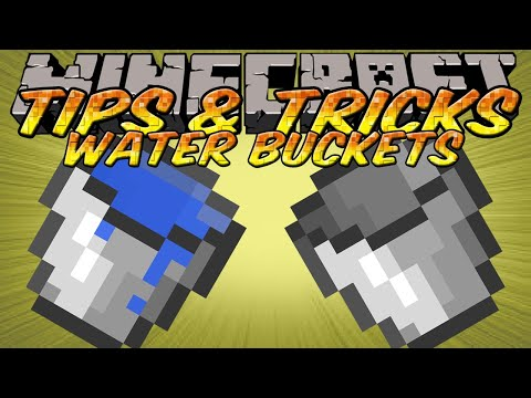 Minecraft Tips and Tricks - Water Buckets - infinite water source - Water scaling