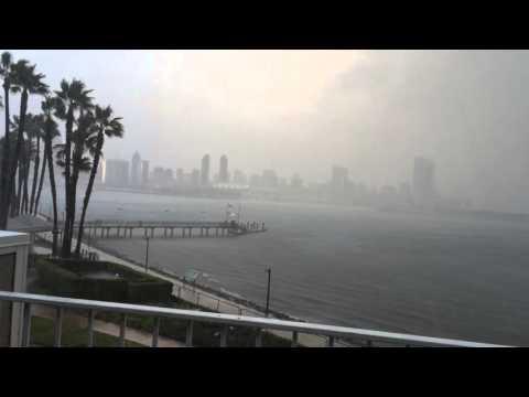 Rain storm in Coronado Island, San Diego.