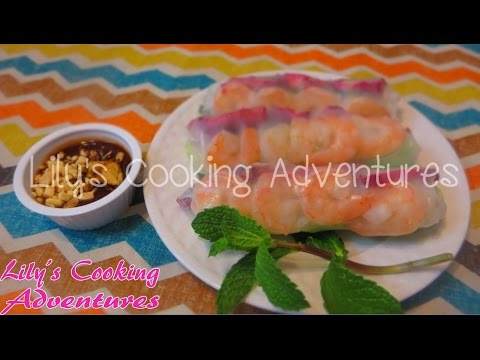 Goi Cuon Tom Thit  - Vietnamese Fresh Spring Rolls - how to make spring rolls