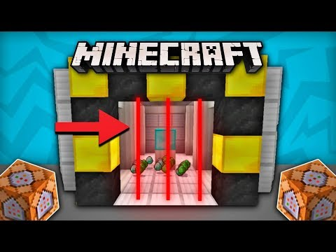 How to build a working LASER DOOR in MCPE - Minecraft Command Block Tutorial (No Mods)