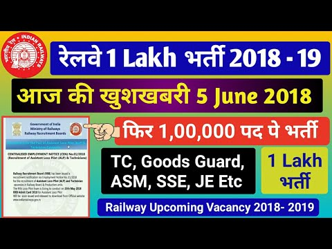 Railway Recruitment 2018 1 LAKH New Vacancy For TC, Station master, Goods Guard, SSE, JE Etc
