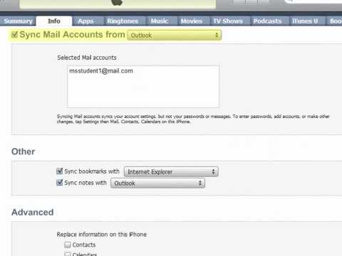 Configuring iPhone sync to Outlook
