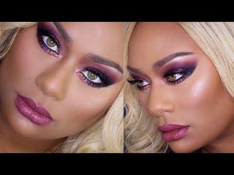 Fall Inspired Purple Glitter Smokey Eye