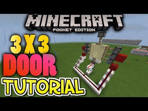 MCPE: 3x3 Piston Door Tutorial - EASY Minecraft PE Redstone Door Creation!