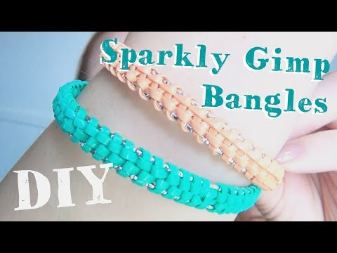 DIY Sparkly Gimp Bangles ♥ Plastic Lace Boondoggle Jewelry