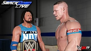 WWE SmackDown 2K17 - AJ Styles vs Dolph Ziggler vs Baron Corbin World Title Match (CUSTOM STORY)