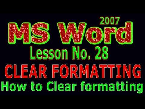 Microsoft Word 2007 Tutorial in urdu / Clear Formatting Lesson # 28
