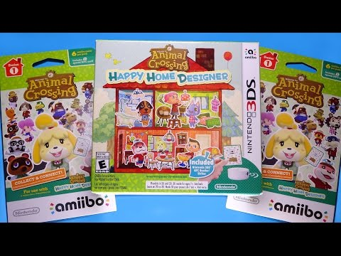 Opening ANIMAL CROSSING Happy Home Designer game + 2 amiibo card packs!