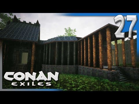 BUILDING THE BASE OF THE TOWER! | Conan Exiles Multiplayer Gameplay/Let's Play S4E27