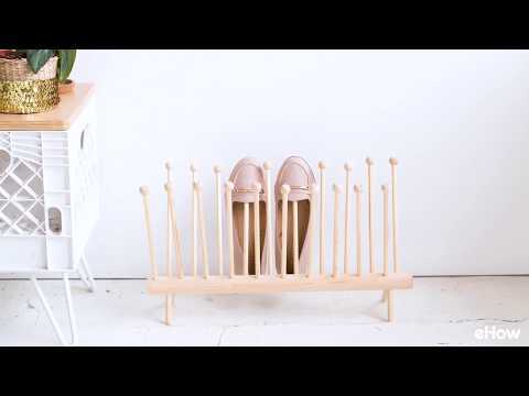 Easy DIY Dowel Shoe Rack