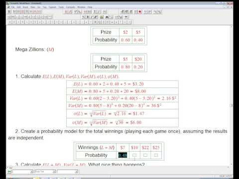 Example of expected value and variance of a sum of two independent random variables