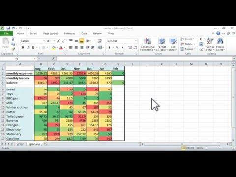 How to do a simple budget in Excel. Simplest color-coded tabe and chart.
