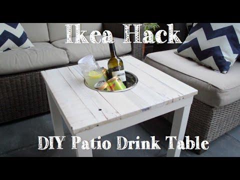 DIY PATIO DRINK TABLE- IKEA HACK