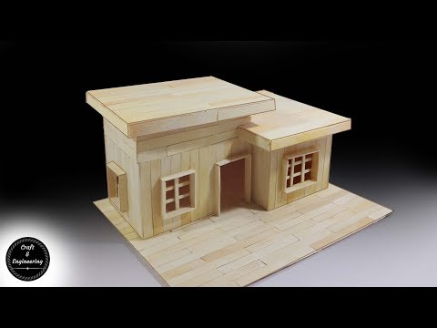 How to make Modern House with popsicle sticks