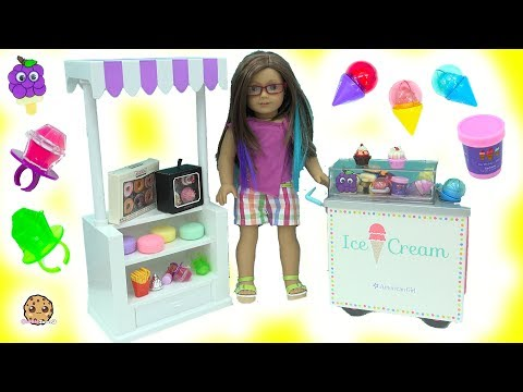 Cute Mini Scented Ice Cream + Cupcake Lip Gloss Makeup Haul with American Girl Doll