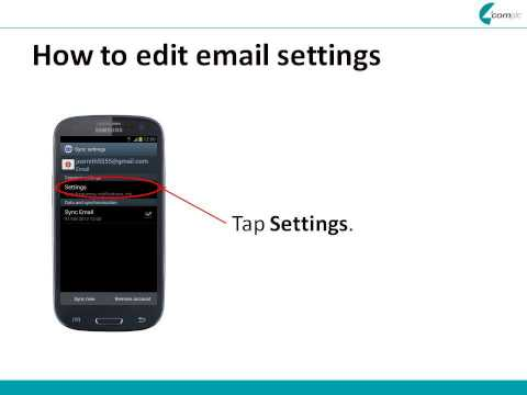 Samsung Galaxy S3 - email settings