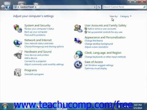 Windows 7 Tutorial The Control Panel Microsoft Training Lesson 2.5