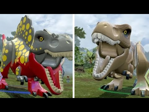 LEGO Jurassic World - T-Rex Unlock Location + Gameplay (Skeleton & Custom Dinosaur Showcase)