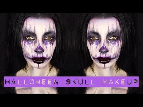 Purple Halloween Skull Makeup | Creative Process