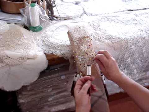 Traditional lace being hand made in Gozo