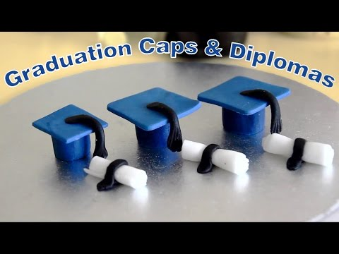 Sugar Paste Icing Fondant Graduation Caps and Diplomas Cake Toppers | HappyFoods