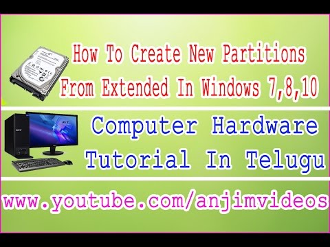 How to create new partitions from extended partitions In Windows XP, 7, 10 Telugu