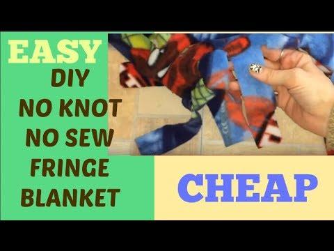 No knot no sew fringe blanket CraftyLori