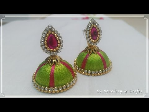 How to make Silk Thread Earrings at Home !!