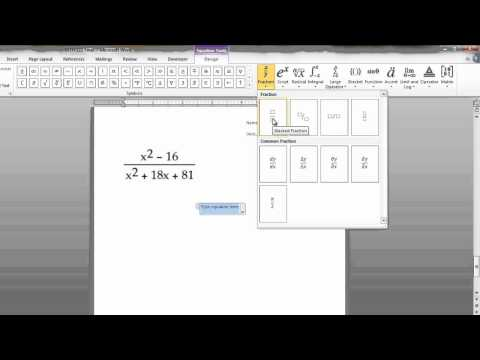 Writing Math Equations in Microsoft Word