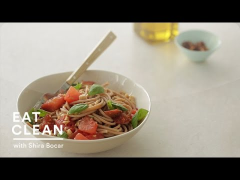 No Cook: Tomato Sauce with Farro Spaghetti and Marcona Almonds - Eat Clean with Shira Bocar