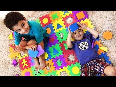 Learn SHAPES & COLORS w/ big squishy foam floor mat puzzle. Let's Play Kids.