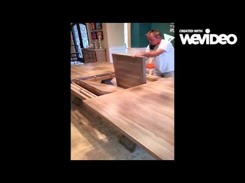Large reclaimed wood butterfly leaf farm table operation