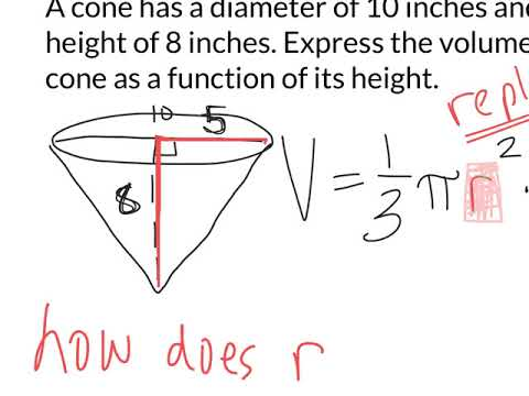 Cone volume as a function of height 1