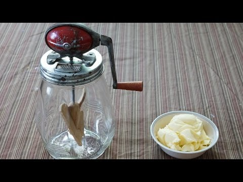 Making butter by hand with Dazey Butter Churn