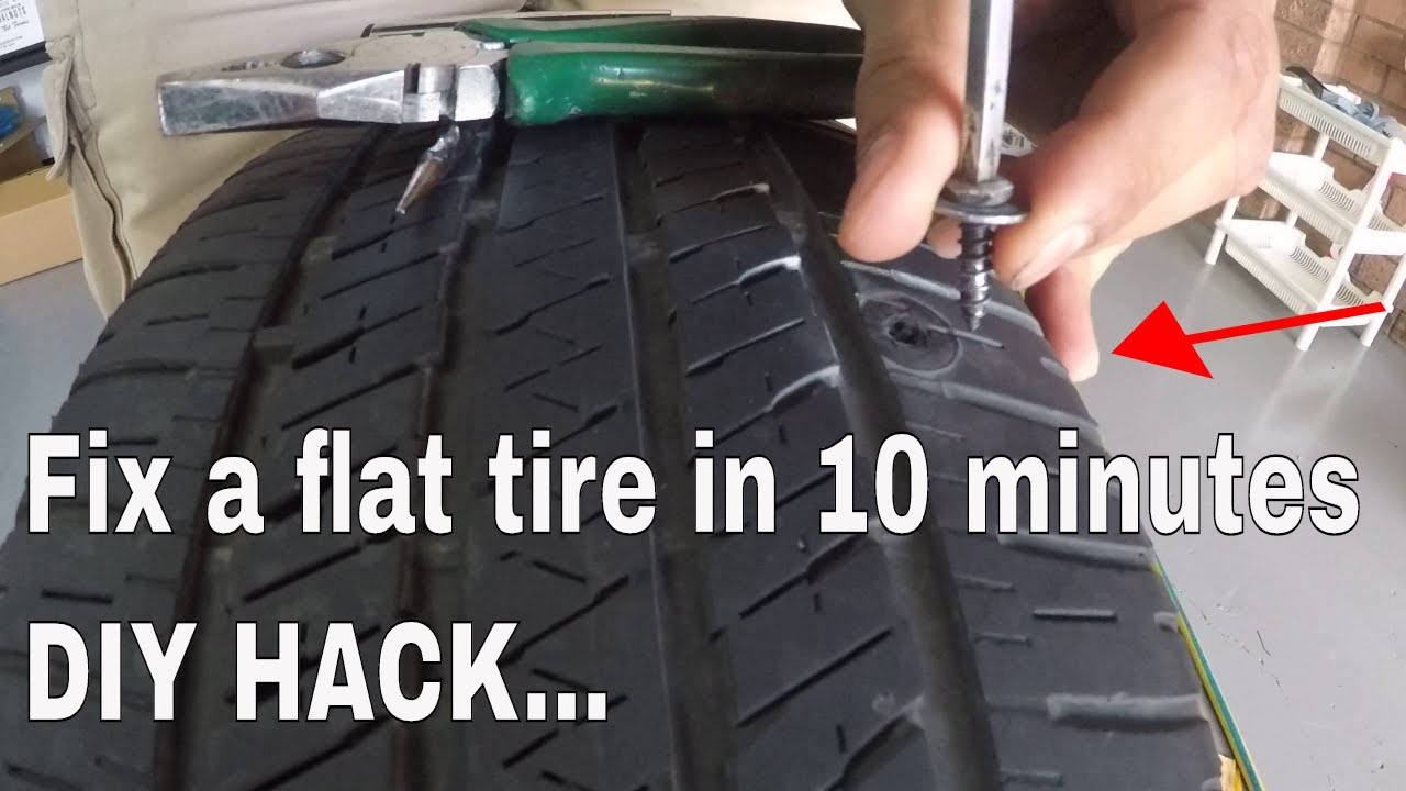 how to plug and repair a flat tyre - DIY screw / nail puncture fix