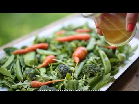 Delicious Sesame Ginger Dressing Recipe + Farmer's Market Fresh Pea, Arugula, Spinach Salad