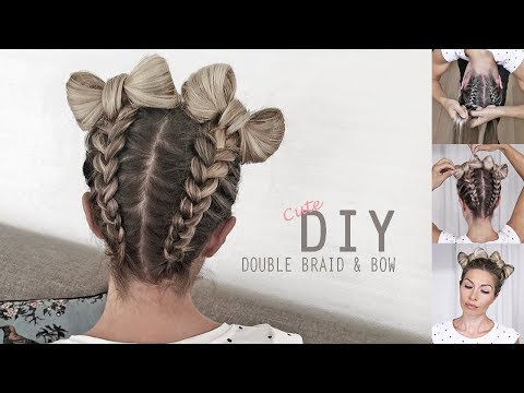 Cute Braid & Bow style 🎀 How to: Braid upside down into double Hair Bows – DIY Tutorial