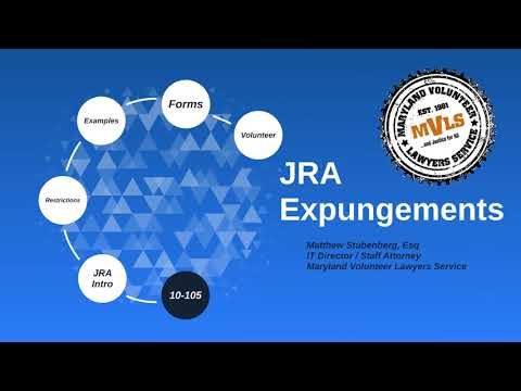 Third Thursday Webinar: New Expungement Law - Justice Reinvestment Act (JRA)
