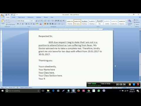How to write an application for sick leave