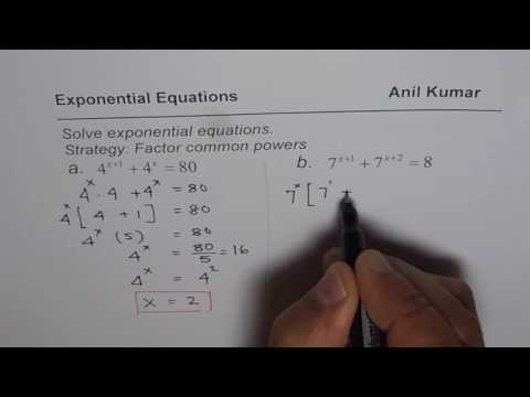 Factor Common Powers and Write as Same Base to Solve Exponential Equations