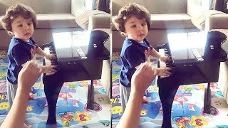 Taimur Ali Khan Playing Piano With Mommy Kareena Kapoor Inside House In Bandra