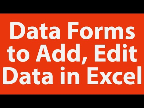 Data forms to add, edit data in ms excel
