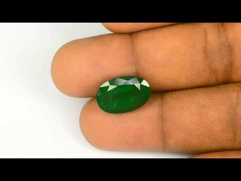 6.98-Carat Dark Green Oval-Cut Zambian Emerald