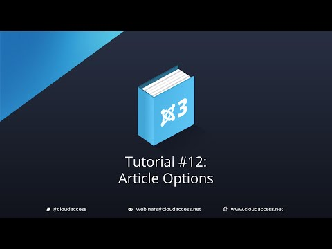 Getting Started with Joomla 3 & CloudBase 3: Article Options - Tutorial #12