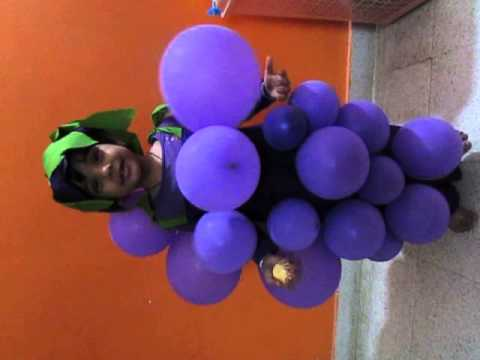 grapes costume with balloons for fancy dress