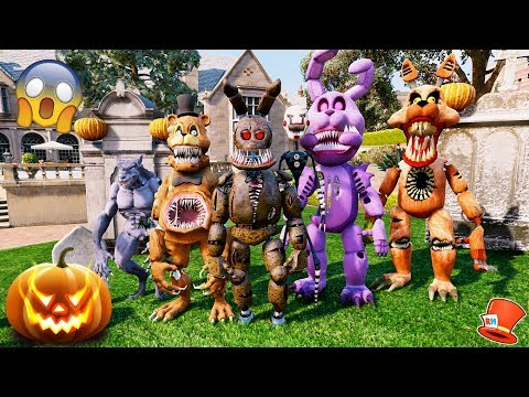 TWISTED ANIMATRONICS HAUNTED HALLOWEEN HOUSE!! (GTA 5 Mods For Kids FNAF RedHatter)