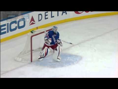 John Giannone takes a puck to the face - Islanders/Rangers - 2/7/2013