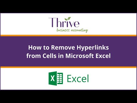 How to remove hyperlink from cells in Excel